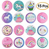 Best UNIQUE Kids Birthday Gifts - Tuparka 15Pcs Unicorn Pin Badges Rainbow Pin Back Review
