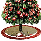 D-FantiX Christmas Decorations, 48-Inch Large Santa Christmas Tree Skirt with Red Floral Rim