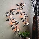 HOSLEY Kunst der Leaf Wand Kerzenhalter Wandleuchter Tafel, 2Stück Teelichthalter. 40,6cm H, je. Inklusive gratis Teelichter ideal weihgabe Geschenk für Home, SPA, Meditation, Wanddekoration