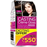 L'Oreal Paris Casting Creme Gloss Hair Color, 400 Dark Brown, 87.5g+72ml (Rs.80 off)