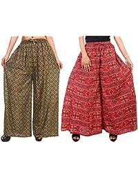Fashion Store Women's 1 Cotton & 1 Rayon Stylish Printed Full Flair Multi-Colored Plazo (Free Size, Set Of 2) - B0774QB9HY