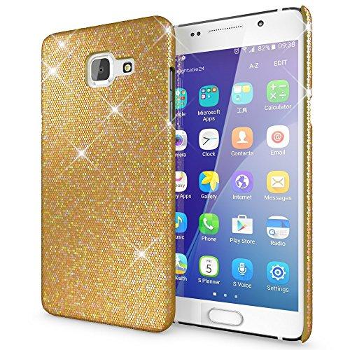 NALIA Custodia Protezione compatibile con Samsung Galaxy A5 2016, Glitter Hardcase Sottile Smartphone Cover Protettiva compatibile con Cellulare, Slim Copertura Rigida Bumper Scintillio - Oro Giallo