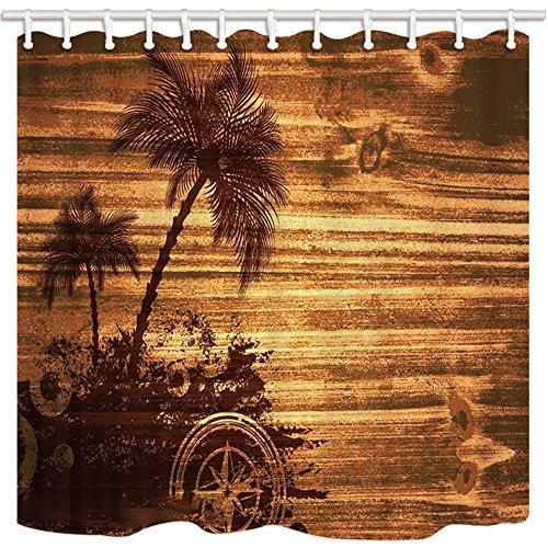 CDHBH ATT Decor Duschvorhang Sand Gemälde Meer Insel Coconut Palm Domestic Oder Hotel Badezimmer Polyester-Schimmelresistent-Wasserdicht Duschvorhang Set mit Haken 180,3x 180,3cm -