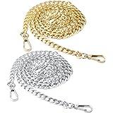 nuoshen 2 Stücke Taschenkette, Metall Schulter Riemen Kette Trageriemen Kette für Tasche Handtasche Damen Umhängetasche (Gold