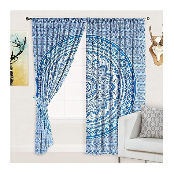 Alveera Gems Textile Mandala Style Tribal Art Printed Cotton 40x80-inch Long Curtain for Door and Window (Multicolor) -2 Pieces