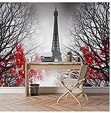 Mural de papel de paisaje de ciudad europea no tejida para sala de estar 3D Papel de pared Mural Rollos Francia París Torre Eiffel Árbol Decoración para el hogar