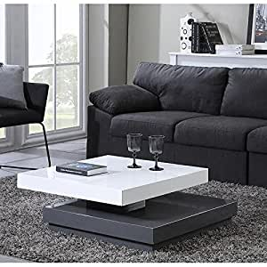 vegas table basse carr e pivotante 75cm blanc gris cuisine maison. Black Bedroom Furniture Sets. Home Design Ideas