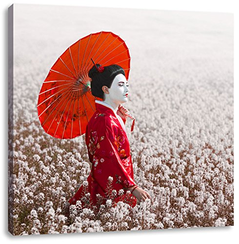 Geisha auf dem Feld, Format: 40x40 auf Leinwand, XXL riesige Bilder fertig gerahmt mit Keilrahmen, Kunstdruck auf Wandbild mit Rahmen, günstiger als Gemälde oder Ölbild, kein Poster oder Plakat (Geisha Kostüm Bilder)