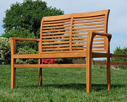 TEAK Design Gartenbank Parkbank Sitzbank 2-Sitzer Bank Gartenmöbel Holz sehr robust Modell: ALPEN120 von AS-S - 4