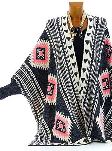 Charleselie94® - Gilet long poncho ethnique laine gris rose ARTEMIS GRIS Gris