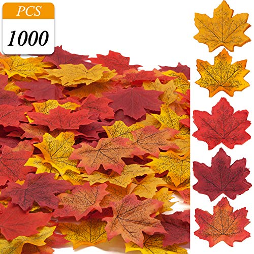 VONDERSO Artificial Maple Leaves, Autumn Fall Leaves Bulk Assorted Multi Color Mixed Garland for Thanksgiving Wedding House Decorations (ML-1000ps-5colors)