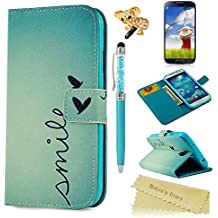 Samsung Galaxy S4 Funda Libro,Samsung Galaxy S4 Funda Suave PU Leather Cuero - Mavis's Diary Case Con [Flip case cover][Cierre Magnético] [Función de Soporte][Billetera con Tapa para Tarjetas] para Samsung Galaxy S4 i9500 i9505 - Diseño de Pequeño Amor Corazón Verde + 1 x Lápiz óptico + 1 x Tapón Antipolvo + 1 x Protector Pantalla