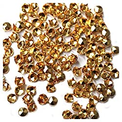100 Pieces Gold 5mm Diamond Cut Nail Head Studs - Hand Pressed Rivets - Suitable for Leather Crafting, Decorating Clothes, Jackets, Belts, Footwear, and Bags