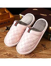 CWAIXXZZ zapatillas de felpa Brochetas de algodón zapatos invierno brochetas suéter zapatos femeninos zapatillas de algodón turco más cálido terciopelo salvaje juventud home zapatillas para hombres, 260 (37-38), Rosa