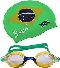 Viva Sports Brasil-Swim-Set-2 Silicone Swimming Cap and Goggles
