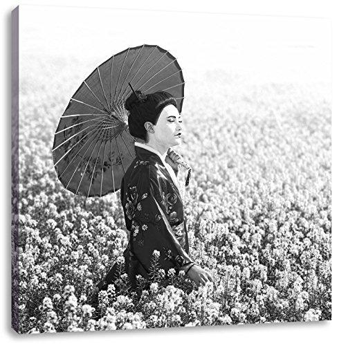 Geisha auf dem Feld Kunst B&W, Format: 40x40 auf Leinwand, XXL riesige Bilder fertig gerahmt mit Keilrahmen, Kunstdruck auf Wandbild mit Rahmen, günstiger als Gemälde oder Ölbild, kein Poster oder Plakat (Geisha Kostüm Bilder)