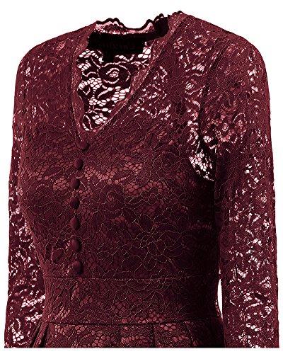 Whoinshop Damen Elegant Kleid Spitzenkleid Cocktailkleid Knielanges Vintage 50er Jahr hochzeit Partykleider Rot-1
