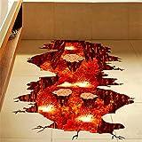 XMJR 3D Lava Wand Aufkleber Sticker Restaurant Bad Badezimmer Bodenfliese verzierenideen gegen Spezifikationen 80 * 88cm