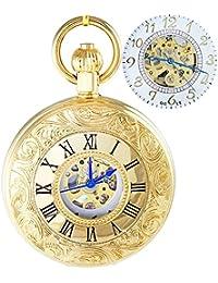 Ogle impermeable oro romano blanco cadena Fob Self bobinado automático esqueleto mecánico reloj de bolsillo