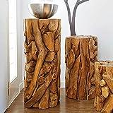 Möbel Bressmer Blumenständer Holz massiv Beistelltisch XILON Höhe 80cm | Teak Wurzelholz Podest als Beistelltisch oder Blumenständer| Produkt mit Holz-Zertifikat