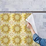 AZ Ethnic Circular Ornament Washable Waterproof Shower Curtain 54 x 84inch; SINGLE PIECE