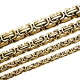 Soul-Cats® Set Königskette Halskette aus Edelstahl in gold, Länge: 90 cm, Stärke: 5 mm und Armband, Länge: 22 cm