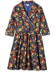 Lindy Bop Damen Kleid Vivi Dark Blue Floral