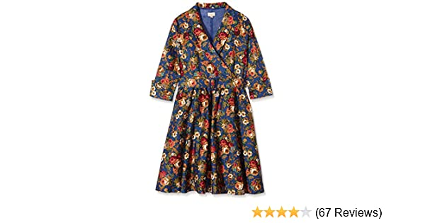 Lindy Bop Womens Vivi Dark Blue Floral Dress, 26: Amazon.co.uk: Clothing