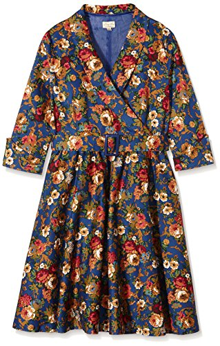 Lindy Bop Vivi Dark Blue Floral, Robe Femme Bleu - Bleu