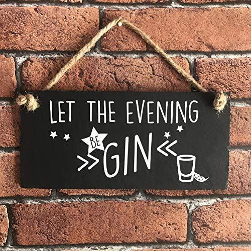 Zhaoshoping Gin & Tonic Schild Let The Evening Be Gin Gin & Tonic Gin Geschenk, Gin Geschenk, geheime Weihnachtsmann, Wandkunst aus Holz für Wohnzimmer Schlafzimmer Dekoration