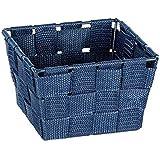 WENKO Panier de rangement Adria Mini square bleu foncé - Panier de salle de bain, carré, tresse en matière plastique, Polypro