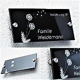 Hausnummer/Familienschild mit Gravur aus Hochglanz-Acrylglas in schwarz ab 21x10cm - sofort personalisierbar ! Lasergravur (kein Druck!) Familien-Haus/Garten/Namensschild/Firmenschild