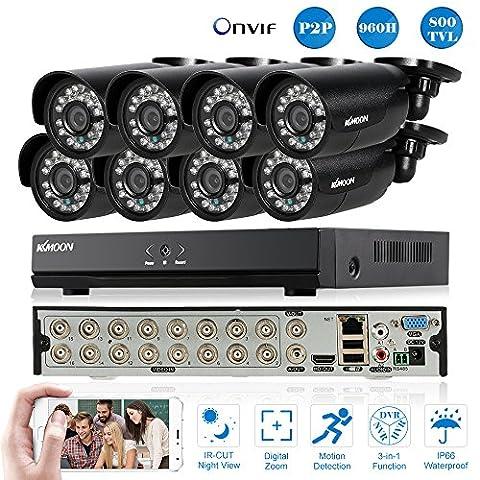 KKmoon 16 Channel CCTV DVR Camera System with 8 pcs