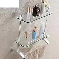 Ripiano in vetro doppio bagno/Con barra di tovagliolo/mensola spogliatoio/Scaffale da bagno