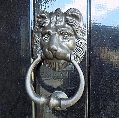 Llamador para puerta de león de metal fundido negro clásico