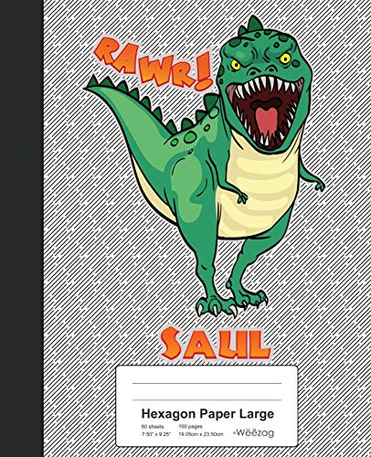 1805 Notebook (Hexagon Paper Large: SAUL Dinosaur Rawr T-Rex Notebook (Weezag Hexagon Paper Large Notebook, Band 1805))