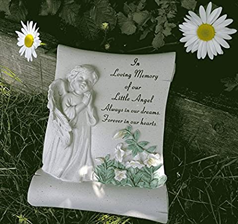Our Little Angel Cherub Scroll with handpainted flowers