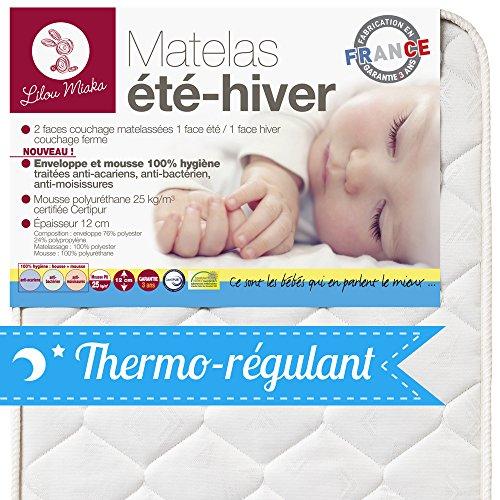 LILOU MIAKA - Matelas bébé face été hiver -  pour lit 60 x 120