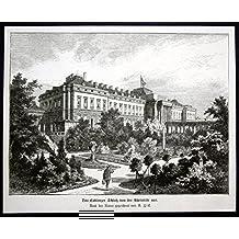 Das Coblenzer Schloß von der Rheinseite aus - Kurfürstliches Schloss Koblenz Ansicht Holzstich antique print