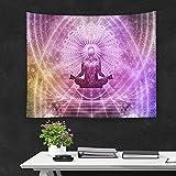 QCWN Tapiz indio yoga, decoración póster colgante tapiz arte estatua Buda meditación elefante estilo hippie decoración del hogar colección colgante de pared decoración, poliéster, 1, 78Wx59L