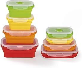 GOURMETmaxx 02829 Frischhaltedosen klick-it platzsparend Faltbar 8 tlg. BPA Frei Zum Aufbewahren, Einfrieren und Erwärmen mit Mikrowellenventil