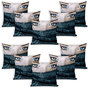 Sleep Nature's Velvet Cushion Covers Set of 10 - (Size-16x16 inches)