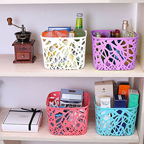 Kurtzy Plastic Storage Basket boxes organizer container bin for Storing Glass Jars Bottle fruits vegetable Utensils Kitchen SET OF 4 LxBxH 19X19X14cm 61DrSK42n7L