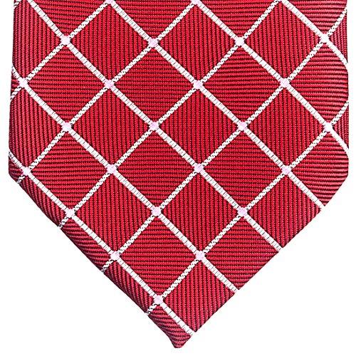 Pois et carreaux tissé de cravate cravate W/Pocket Square & boutons de manchette Set cadeau Rouge