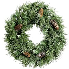 Large Scandinavian Blue Spruce Christmas Wreath Decoration with Pine Cones - Size 1.7ft (50cm)