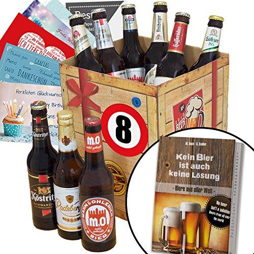 Geschenkidee 8. Jahrestag Beziehung - Geschenk-Box mit Bierauswahl + gratis Geschenkkarten + Bierbewertungsbogen + Bierbuch. Geschenke zum 8ten Hochzeitstag mit Bier. Alles Gute Geschenk zum 8- Jährigen Jubiläum. Besonderes Geschenk für Ehemann und Partner