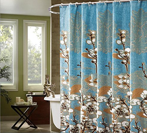 beddingleer 180x 200cm Bianco Magnolia Design Quick-Dry Blu Tenda da doccia in tessuto impermeabile resistente alla muffa tenda per doccia antiscivolo con ganci