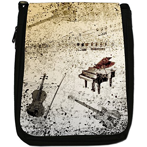 Vintage grunge Note Musicali Medium Nero Borsa In Tela, taglia M Grunge Notes Piano Guitar