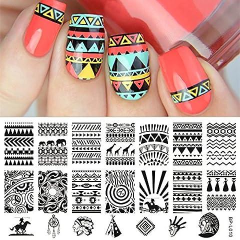 Born Pretty Plaque De Stamping Nail Art Pochoir Rectangulaire Thème Indien Aux Motifs Aztèques BP-L010