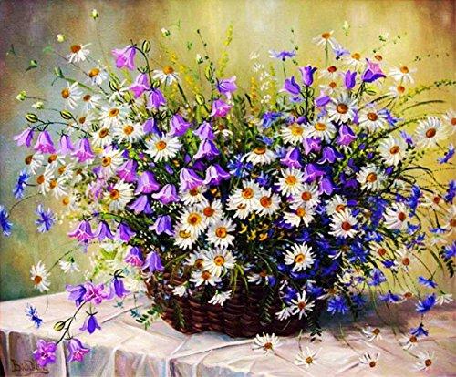 hlen Kits || Chrysantheme und Campanula Topfpflanzen 50 x 40 cm || Malen nach Zahlen, DIGITAL Ölgemälde (Ohne Frame) (Winter Färbung)